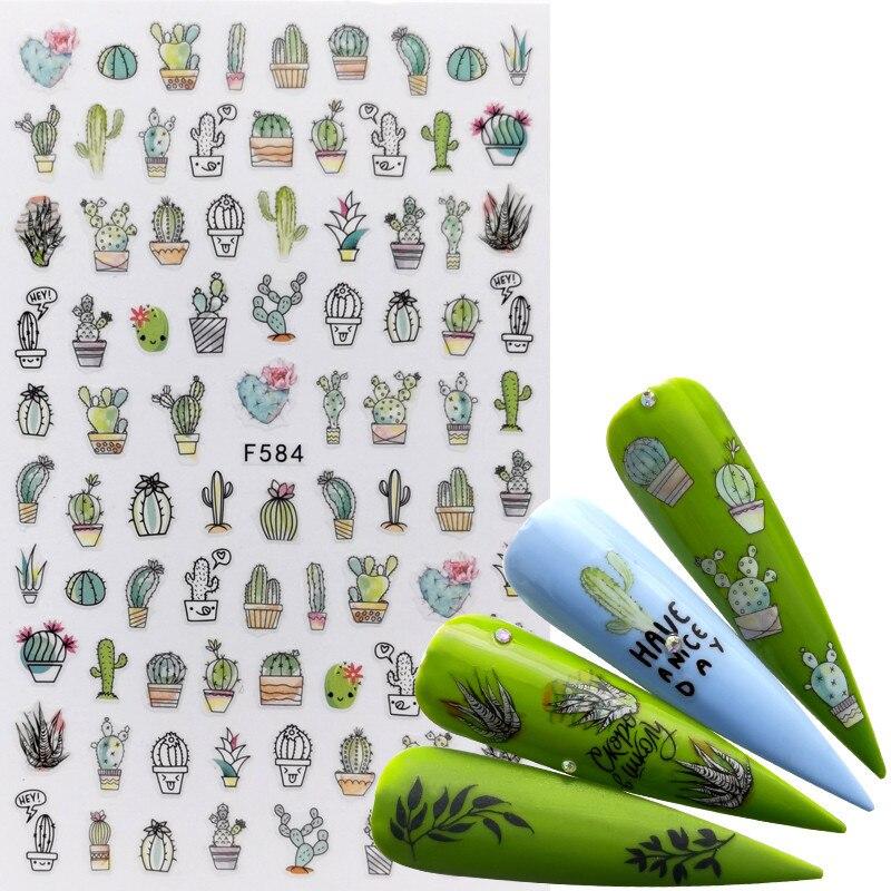 AliExpress - 1 PC Adhesive 3D Nail Sticker Cartoon Women Animals Flower Cactus Designs Transfer Decals Slider Nail Art Decorations DIY Tips