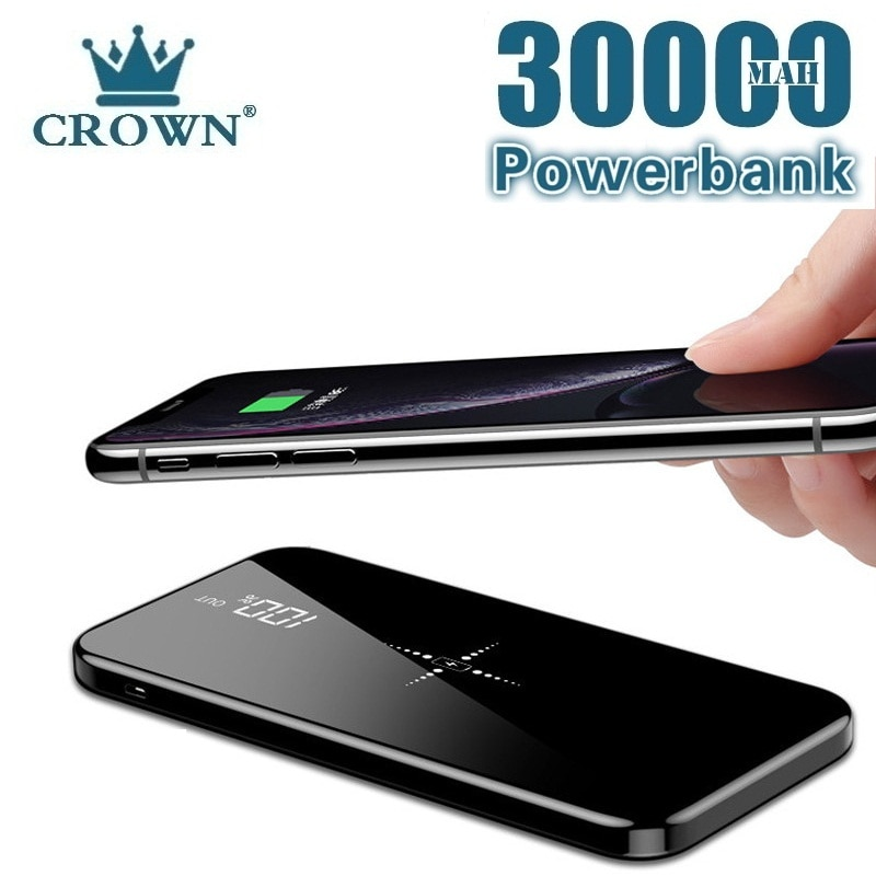 Wireless 30000mAh Power Bank Dual USB Mirror Screen Wireless Charger Powerbank Bateria External For