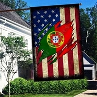 portuga america flag 3d full printing thermal transfer garden flags hanging house decoration double sided printing