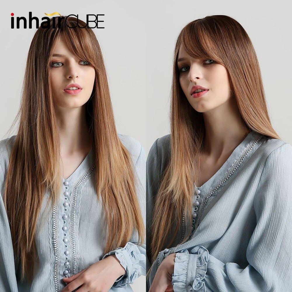 Pelucas de pelo sintético largo Natural liso marrón Rubio degradado Inhaircube con flequillo pelucas de pelo resistentes al calor para mujeres negras
