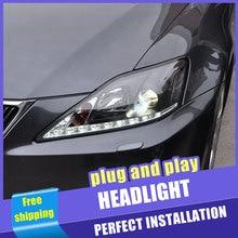Phare de tête pour Lexus IS250 2006-2009   2 pièces, phares pour IS250, lentille DRL Double faisceau H7 HID, xénon bi xénon