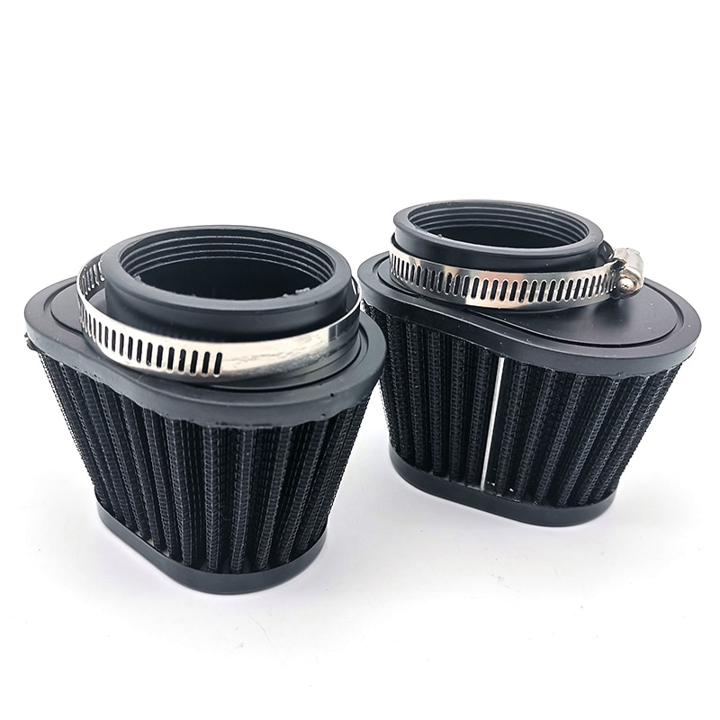 2Pcs 51mm Motorcycle Air Filter Cold Air Intake High Flow Cone Filter Mushroom Head Black