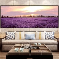 nordic landscape lavender sunset posters and prints canvas painting flower scandinavian wall art picture for living room decor