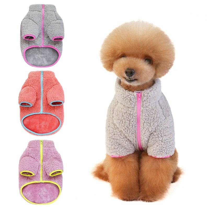 Animal de estimação outono e inverno quente traje roupas para pequeno e médio cão filhote de cachorro dupla face veludo simples casaco-