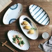 ceramic plate oval fish dish japanese style sushi plate household dinnerware plate fruit plate creative ceramic tableware