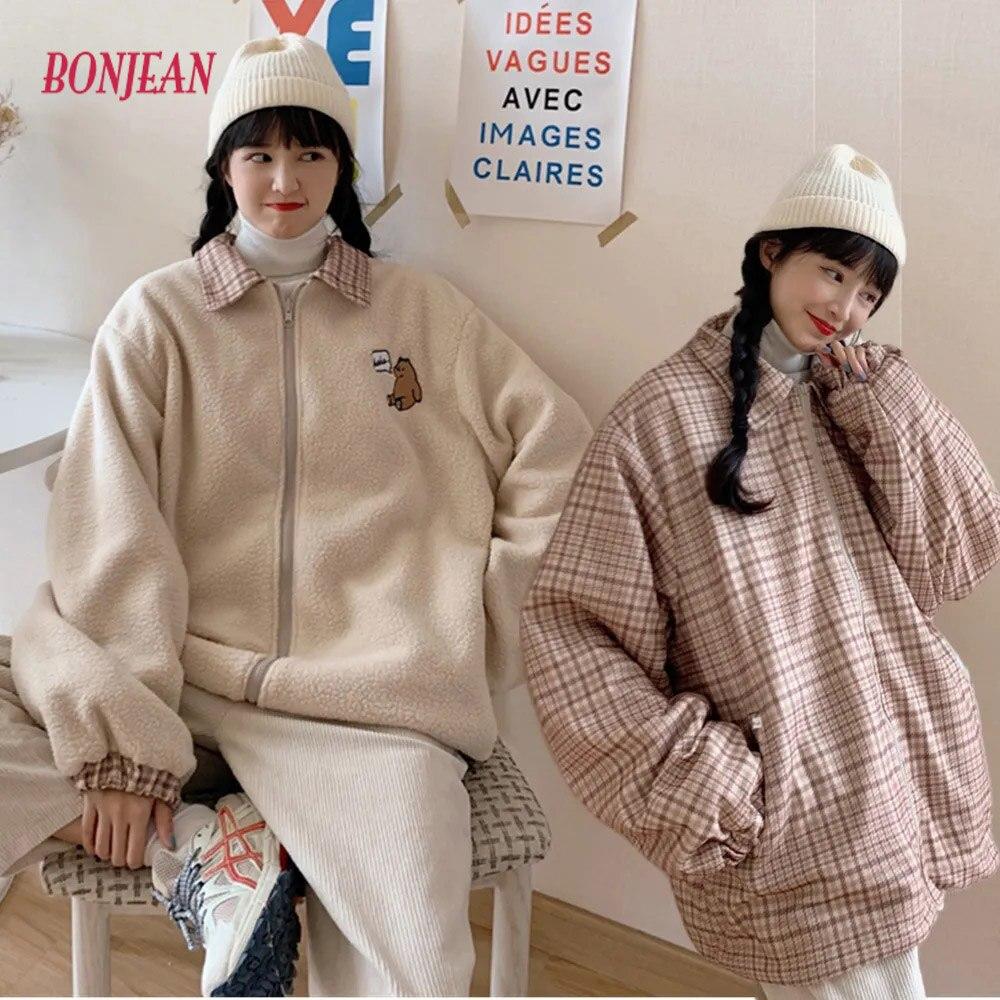 2021 New Korean Style Jacket Double-Sided Wear Cute Bear Embroidery Lamb Wool Coat Women's Cotton-Padded Coat Winter Plaid Coat