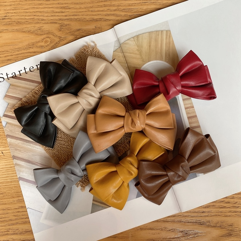 Winter Fashion PU Leather Solid Color Bow Hairpin Duckbill Spring Clips Hair Ornament Girls Hairwear Accessories for Women