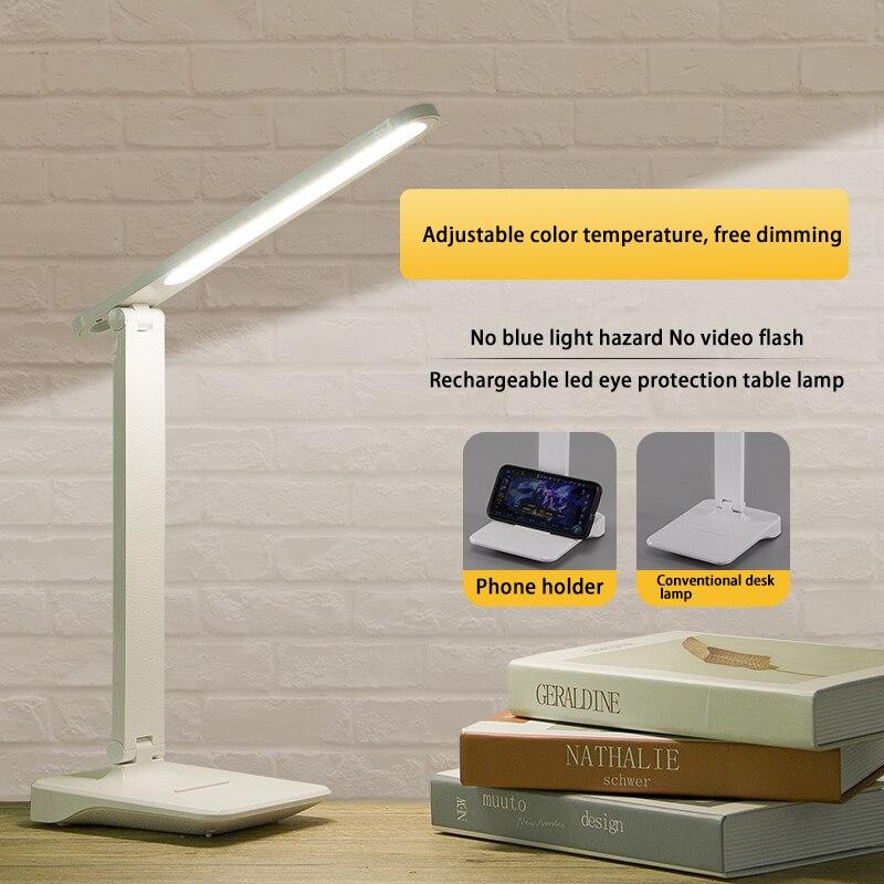 Lámpara de mesa LED de tres modos atenuación continua luz nocturna luz amarilla cálida protección ocular lámpara pequeño libro