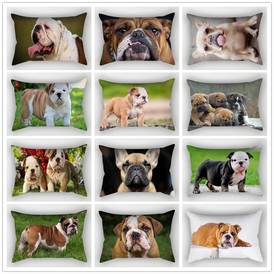 Funda de cojín de Bulldog Inglés ZENGA 30*50cm cojines decorativos de poliéster para perros para sofás bulldog francés decoración funda de almohada pug