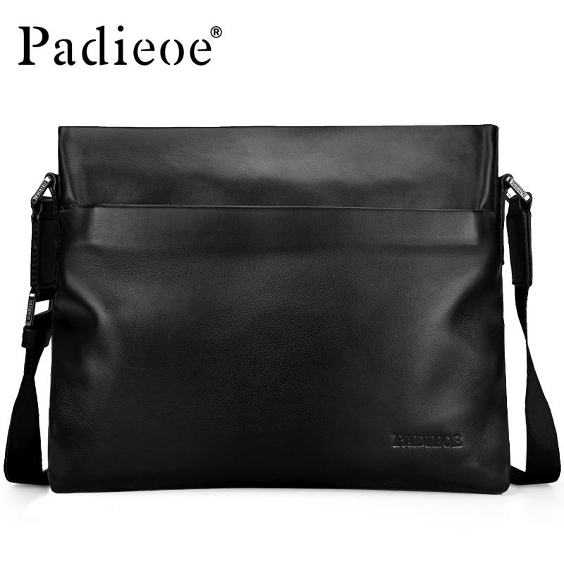 Padieoe moda masculina bolsa de couro genuíno negócios crossbody ombro sacos do mensageiro satchel