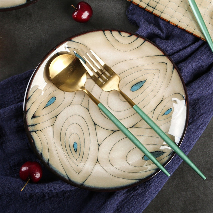 أطباق عشاء غربية من السيراميك مرسومة يدويًا ، على الطريقة اليابانية ، خدمة طعام ، فواكه ، شرائح لحم ، باستا ، أطباق مطبخ الفندق