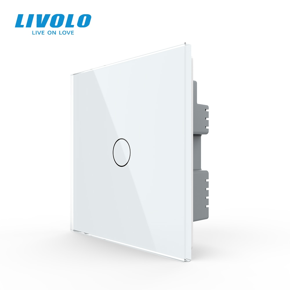 Interruptor táctil para luz de pared de 1 vía estándar británico B6 de Livolo, Panel de vidrio blanco, interruptor inalámbrico remoto, control de sensor táctil