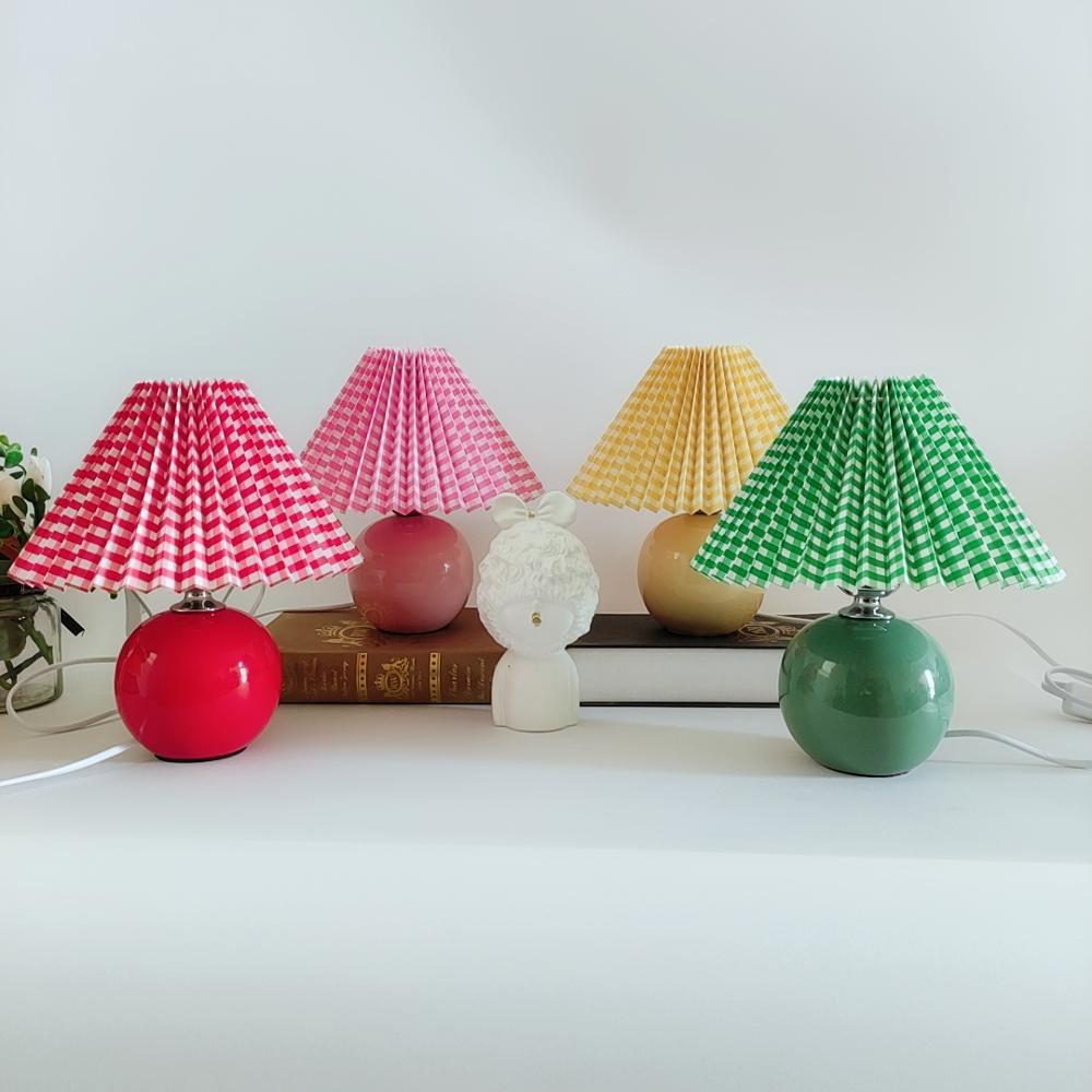 Xianfan new Korean round bottom ceramic lattice series turkish lampshade  bedroom work desk lamp university dormitory table lamp