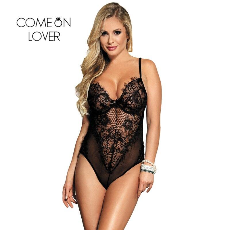 Comeonlover Body Femme Plus Size Rompers Lace Jumpsuit Black White Sleeveless V Neck Mesh Floral Lace Women Bodysuit RI80408