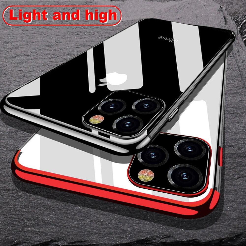 Para iPhone 11 6,1 pulgadas funda láser chapado de lujo TPU suave cubierta transparente para iPhone 11 Pro Max 2019 Luz fundas de teléfono de cristal