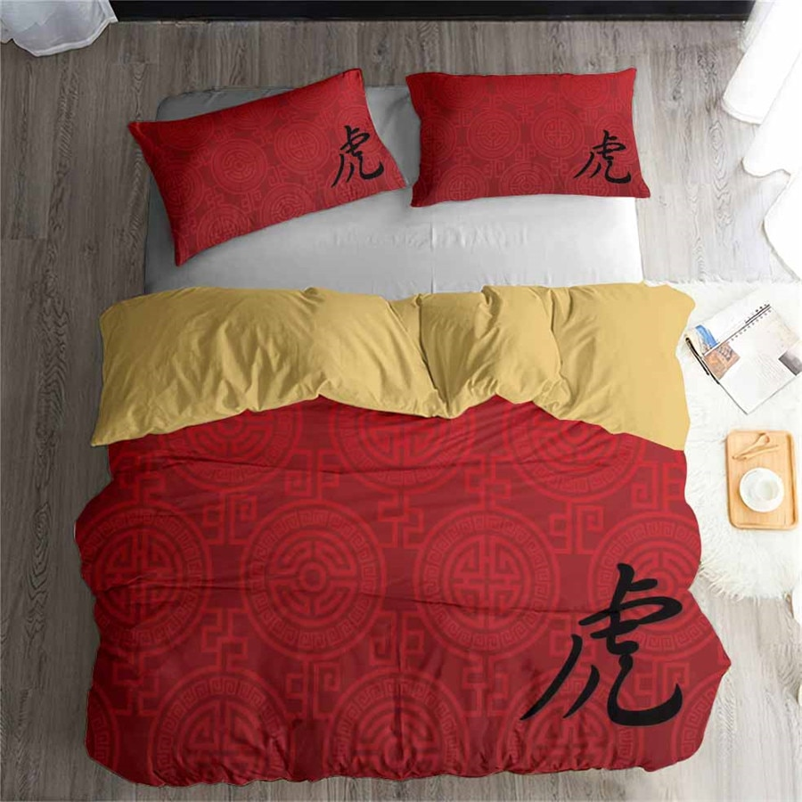 Juego de cama HELENGILI 3D, juego de edredón de caracteres impresos chinos, ropa de cama con funda de almohada, Textiles para el hogar # ZGZ01