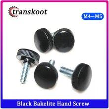 4 Pcs M5 M6 Black Bakelite hand screw Round /fillister head plastic hand screw (Head diameter 17mm)