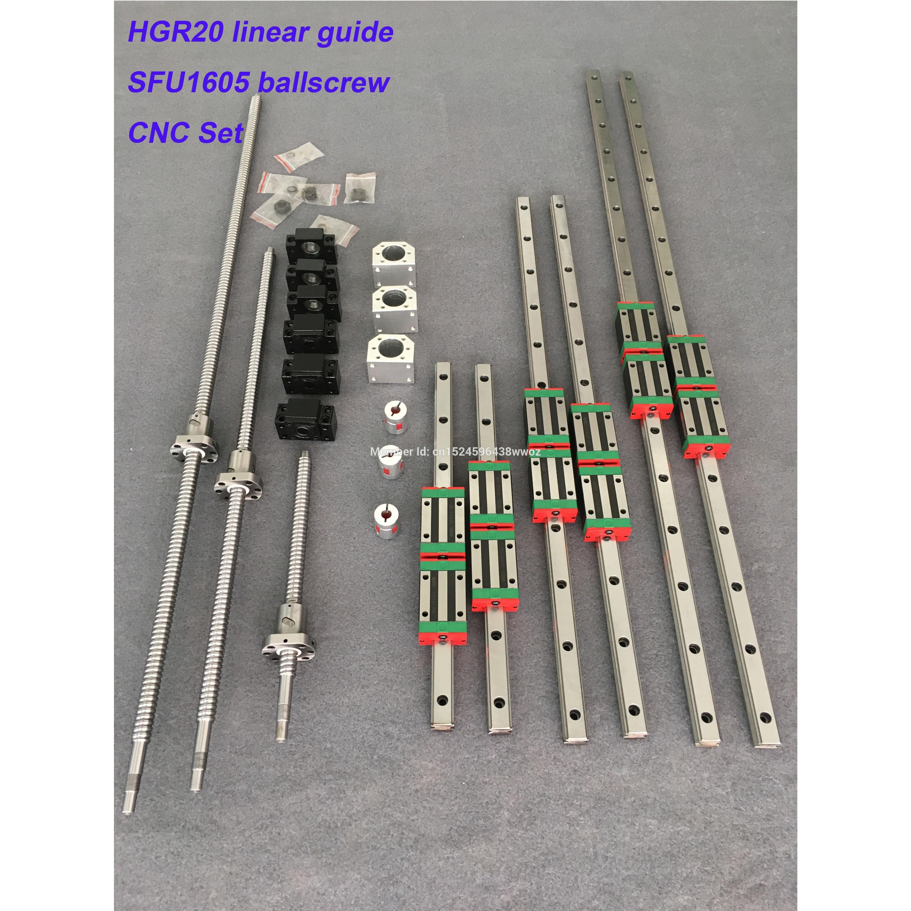 RU تسليم Ballscrew مربع الخطي دليل السكك الحديدية 6 مجموعة HGR20 - 400/700/1000 مللي متر + SFU1605 - 400/700/1000 مللي متر + BK/BF12 CNC جزء