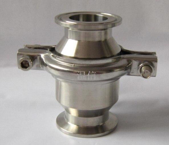 """1-1/2 """"38 MM OD válvula de retención sanitaria tipo de abrazadera de acero inoxidable SS304 Ferrule OD 50,5mm ajuste de trébol de 1,5"""""""