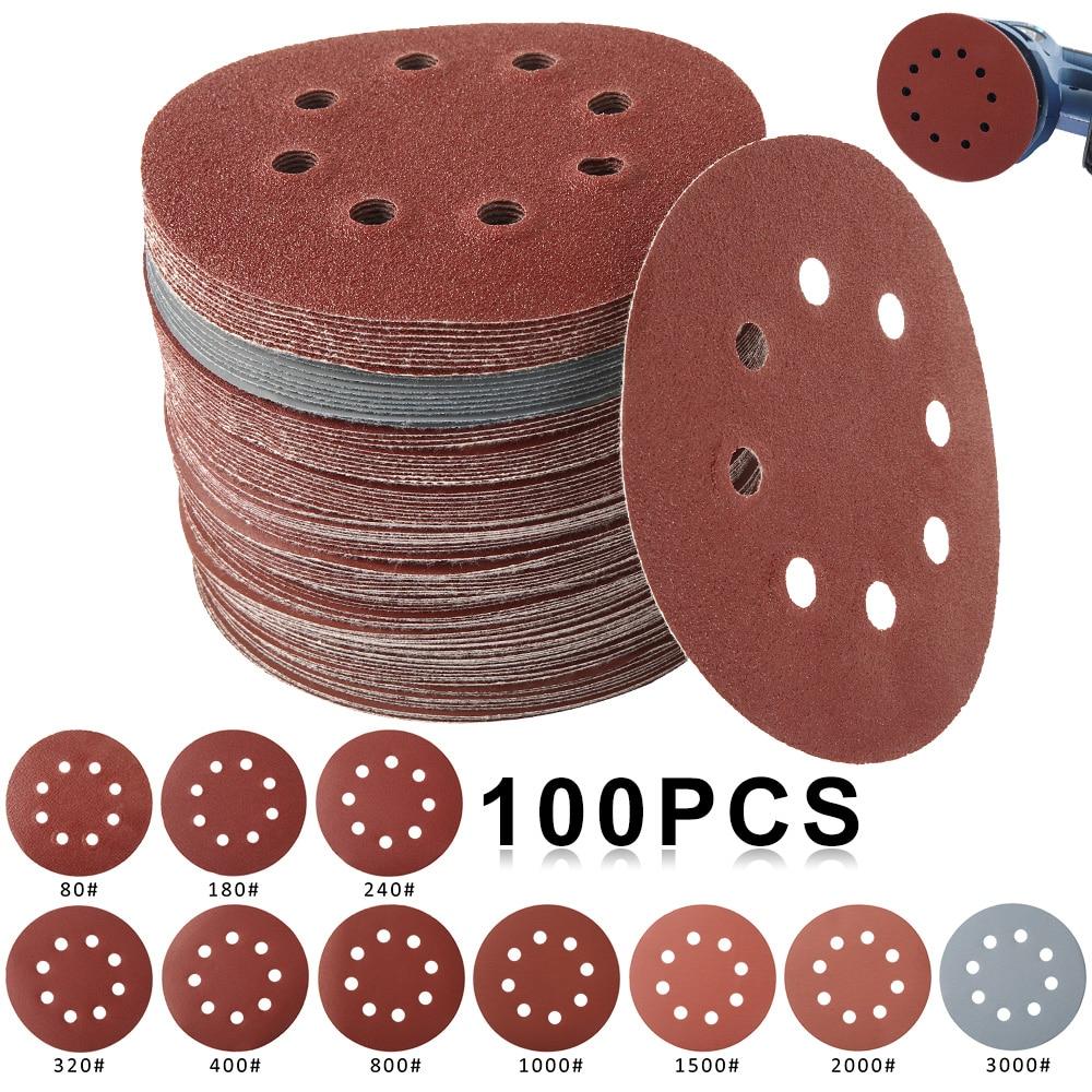 100 vnt. 125 mm šlifavimo popieriaus apvalios formos šlifavimo diskai kablio kilpos šlifavimo popieriaus šlifavimo popieriaus šlifavimo popierius 8 skylių šlifuoklio poliravimo padas