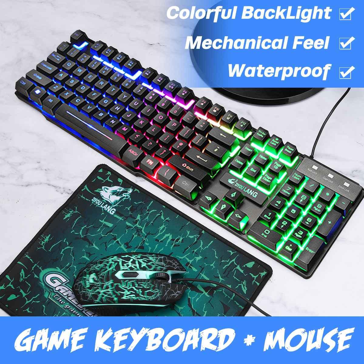 Rvb Led éclairage ordinateur portable Gamer USB filaire clavier de jeu rétro-éclairé avec tapis de souris claviers sentiment mécanique