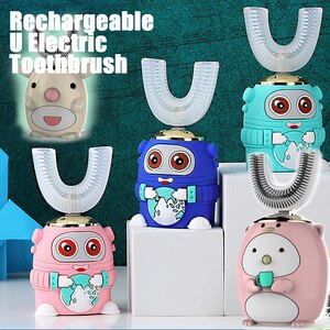 Baby Children Electric Toothbrush For Kids Smart 360 Degrees U Silicon Automatic Ultrasonic Teeth Tooth Brush Cartoon Pattern