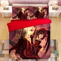 3d bedding set cartoon anime duvet cover pillowcases tokisaki kurumi comforter bedding sets cute gothic style bedclothes