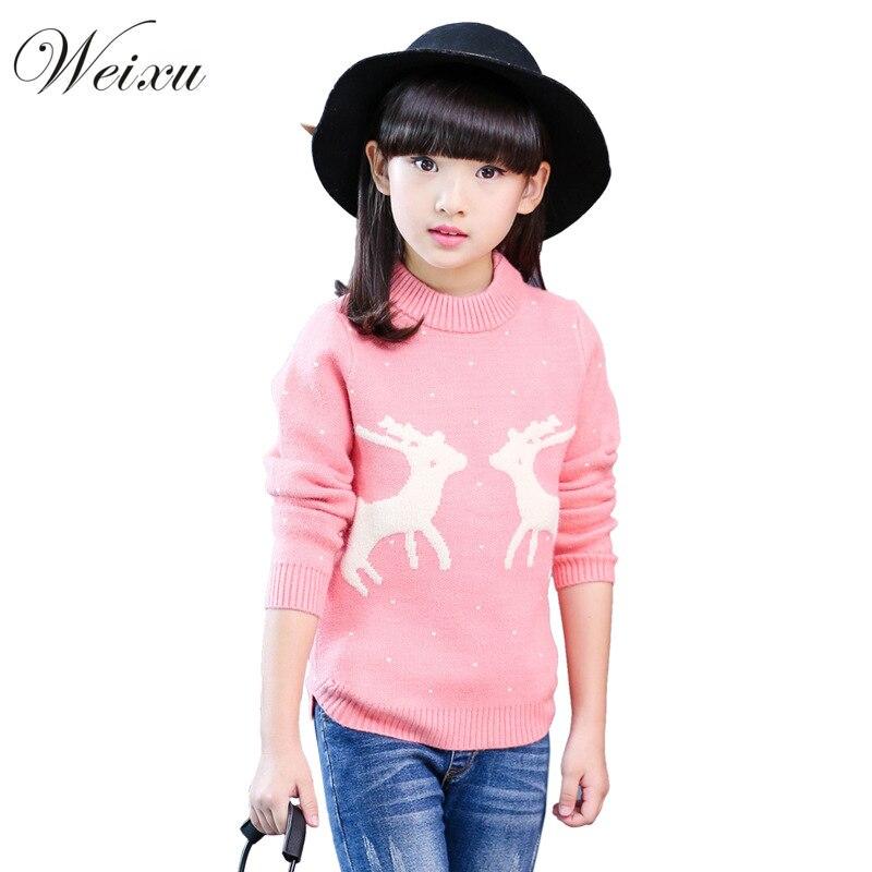 Jersey de punto rosa con ciervos para niños y niñas, jersey de Navidad para adolescentes, Tops de invierno, Ropa para Niñas, 11 años