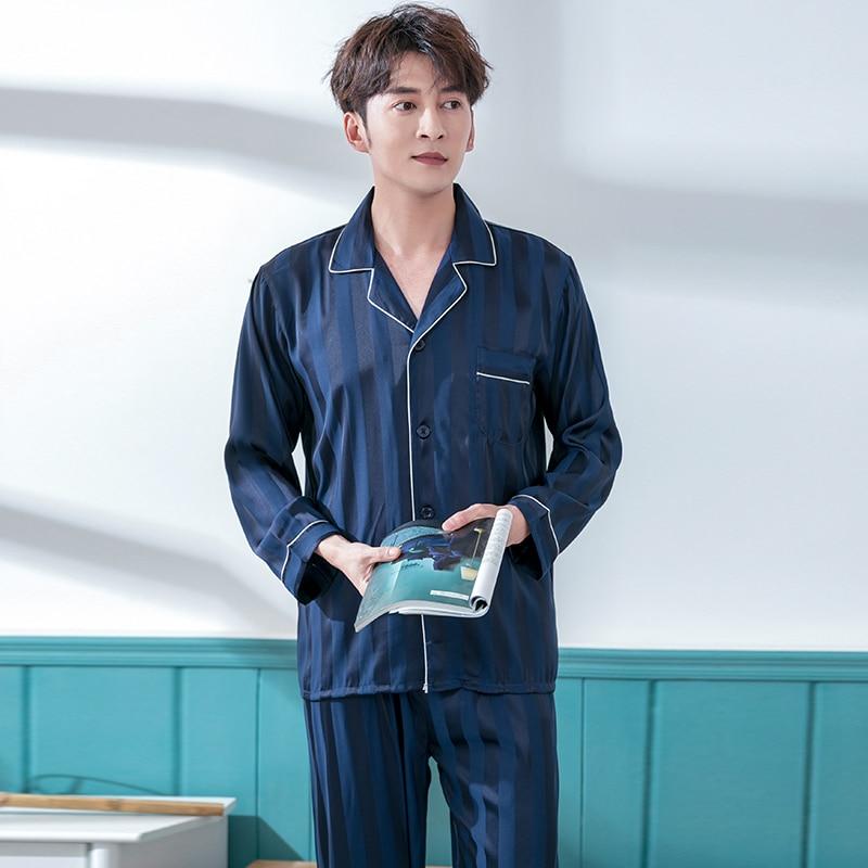 Лето мужские сатин пижамы комплект дом одежда 2шт пояс длинный рукав мужские 27% пижамы пижамы с пуговицами красный однотонный домашняя одежда пижамы