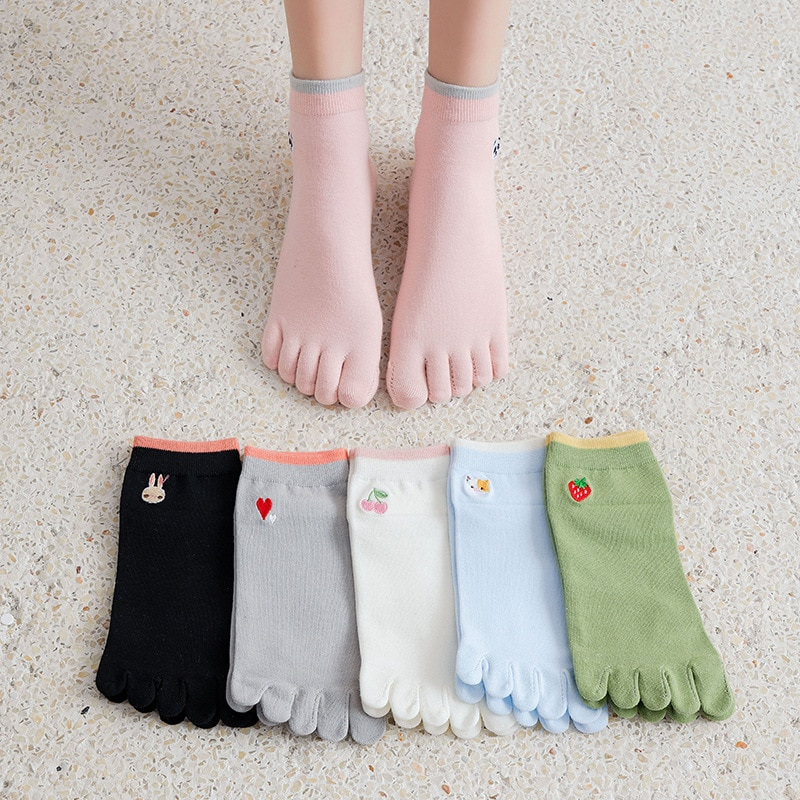 6 Pair/Lot Spring Summer Japan Cartoon Cute Sweet Cotton Socks For Women Five Fingers Socks Breathable Toe Socks Stockings Ins
