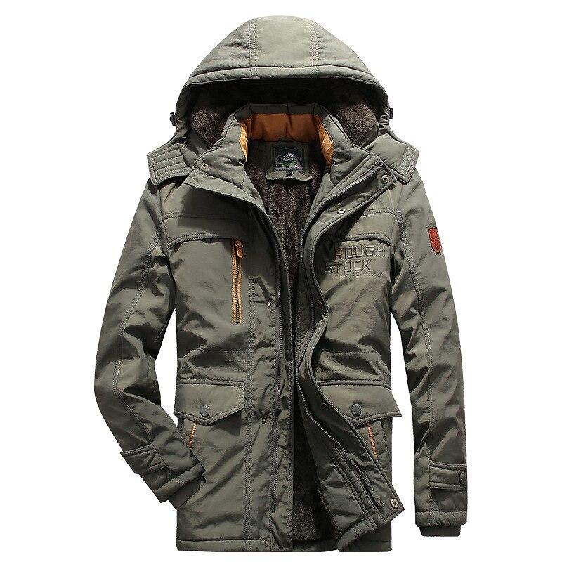 Мужская зимняя одежда, стеганое пальто средней длины, бархатное плотное пальто большого размера, мужское уличное теплое пальто, зимние паль...