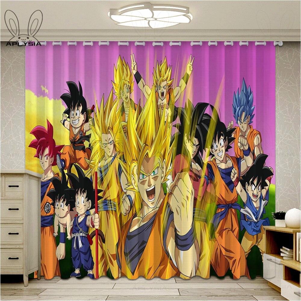 Cortinas a la moda Dragon Ball Z para ventana Anime niños sala de estar dormitorio bloque out tela cortinas oscurecedoras