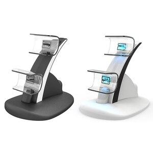 Image 2 - ALLOYSEED двойной контроллер зарядное устройство Подставка беспроводной джойстик зарядная док станция Подставка с индикаторными лампочками для геймпада Sony PS5