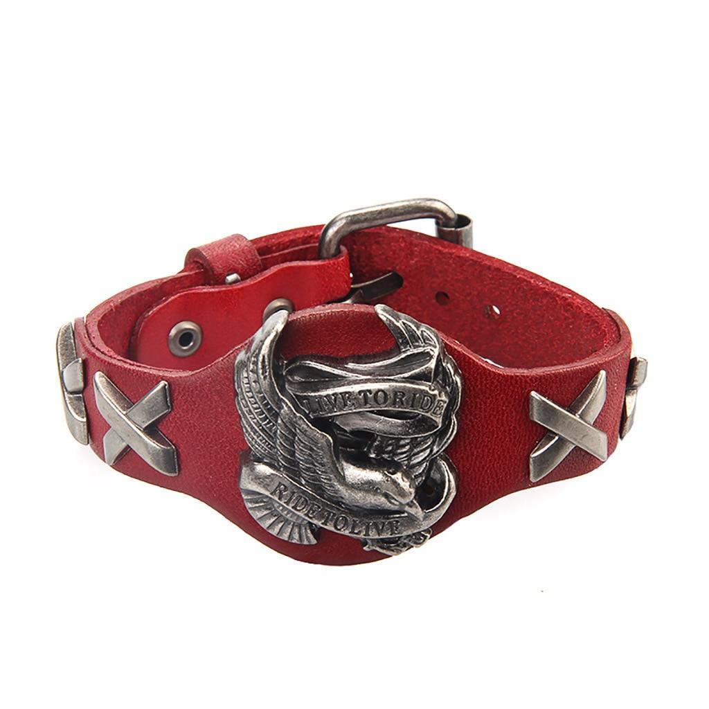 Punk Riding Fashion Bracelet Male Bird Skull Retro Bracelet Leather Bracelet Men and Women Bracelets Bracelets