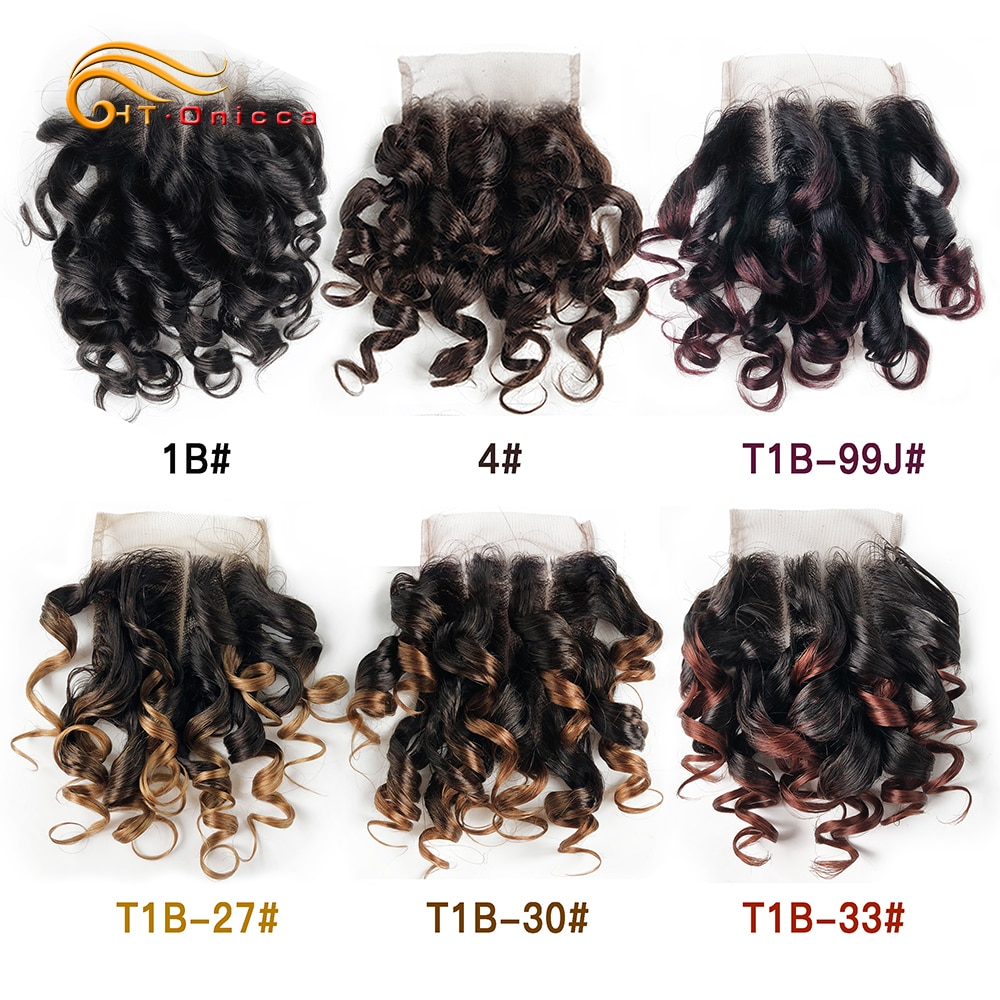 Htonicca Hair 4x4 Closure Brazilian Curly 6 Inch Human Hair Closure 1B 27 #4 30 33 99J Ombre Honey Blonde Color Three Part