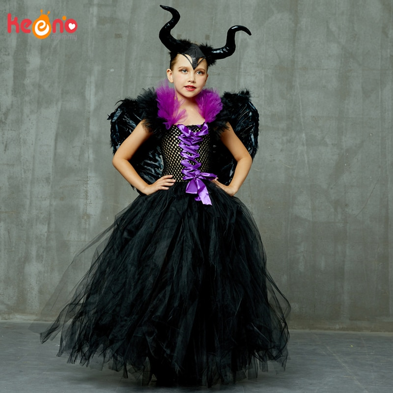 Maleficent Black Gown Tutu Dress with Deluxe Horns and Wings Girls Villain Fancy Kids Halloween Cosplay Witch Costume