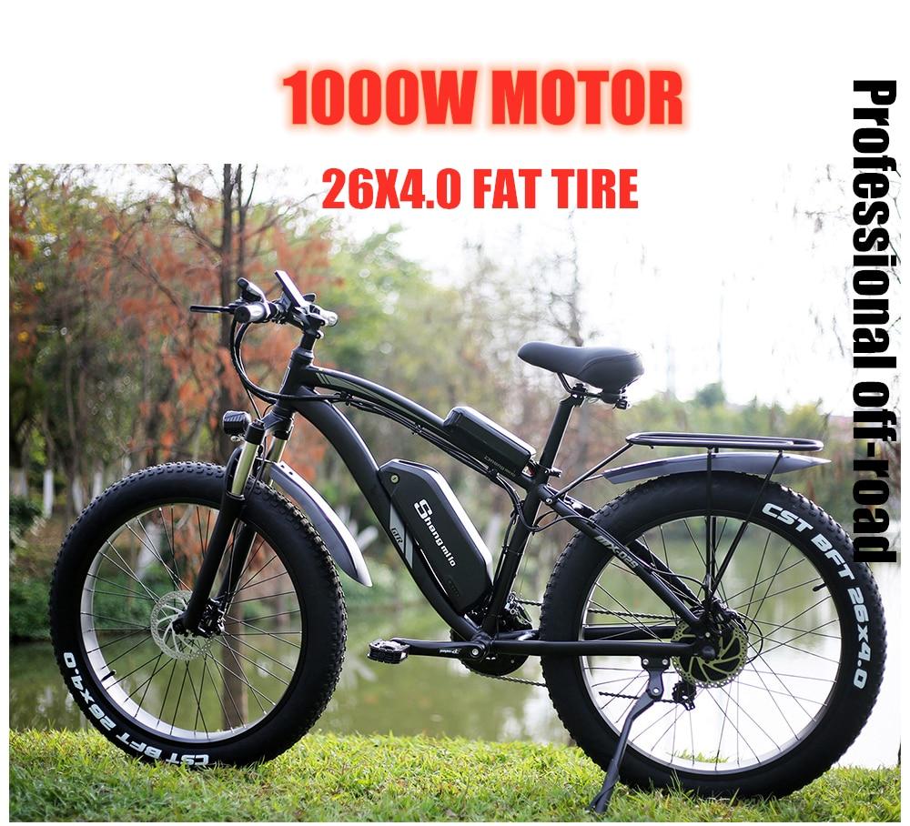 Bicicleta eléctrica de 1000W nieve bicicleta eléctrica Ebike bicicleta eléctrica 48 V aumento de 26 pulgadas neumáticos gordos bafang de maquinaria eléctrica