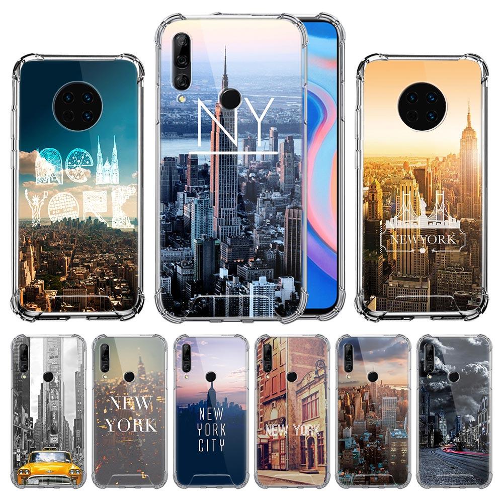 New York City Case For Huawei Y9 Y7 Y6 Y5 2019 Y9s Y8s Y7p Y6p Mate 20 Lite 30 Pro Airbag Anti-Fall TPU Bolso Covers
