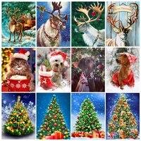 5d diy full christmas diamond painting new elk and christmas tree cross stitch embroidery mosaic square round diamond art