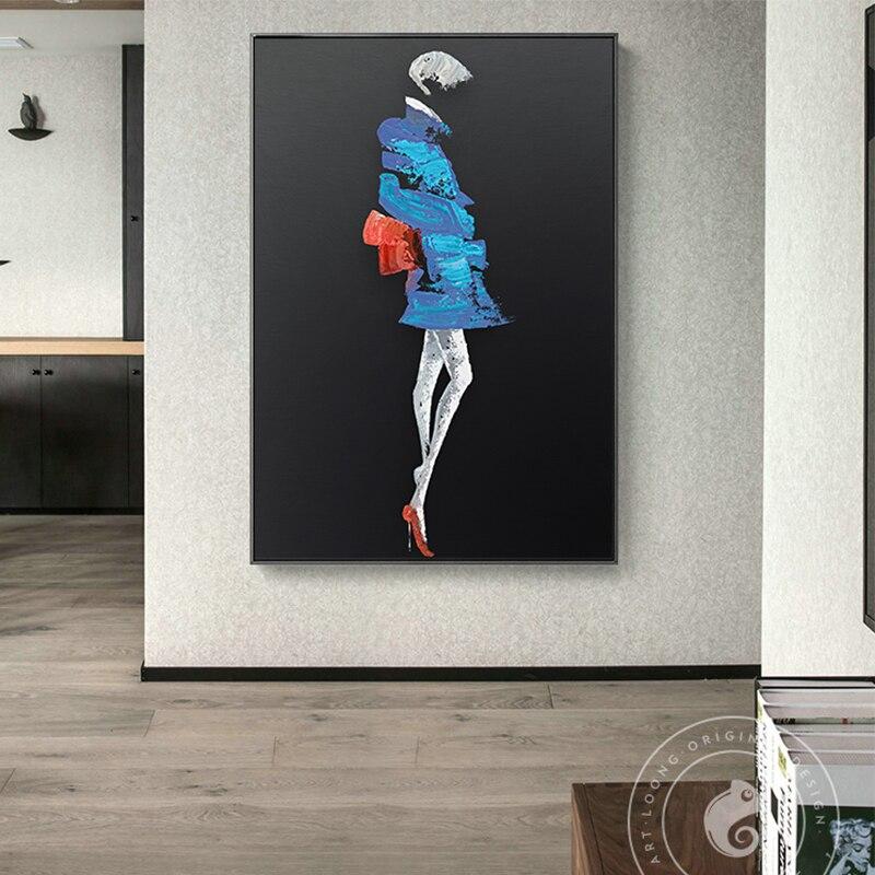 Figura abstracta niñas en el vestido pintura en lienzo posters e impresión arte creativo moderno pared cuadros negros para el dormitorio de la sala de estar