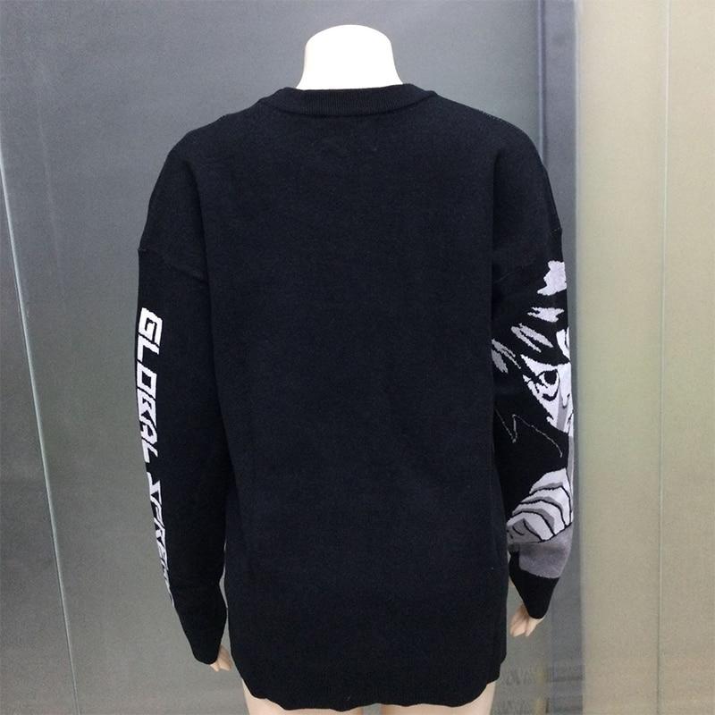 Casual Female Sweater Black Long Sleeve Hip Hop Women Knitted Sweater Print Blouse Kawaii Cartoon Men Streetwear Pullover Y2k P1 enlarge