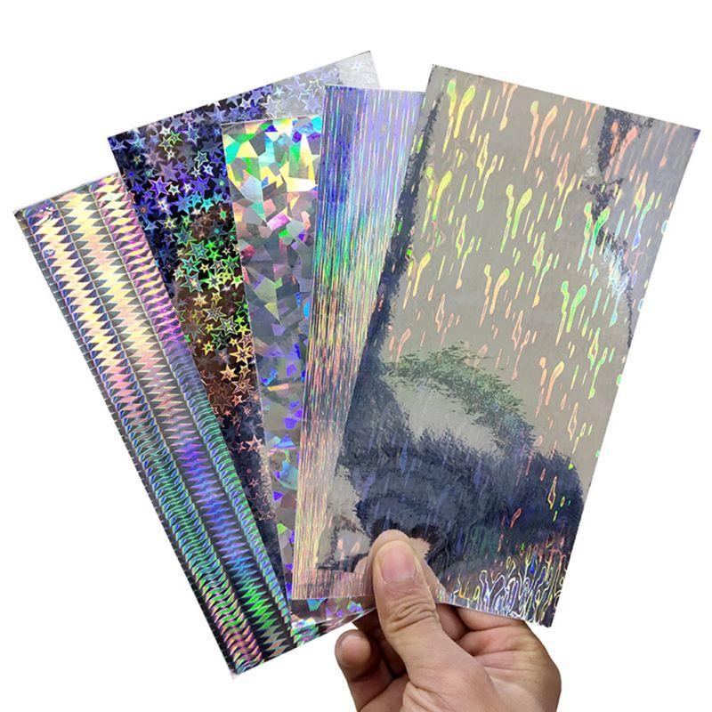 10 unids/set pegatinas para señuelo de pesca 20x10cm plata patrón geométrico cebo Artificial DIY adhesivo papel adhesivo