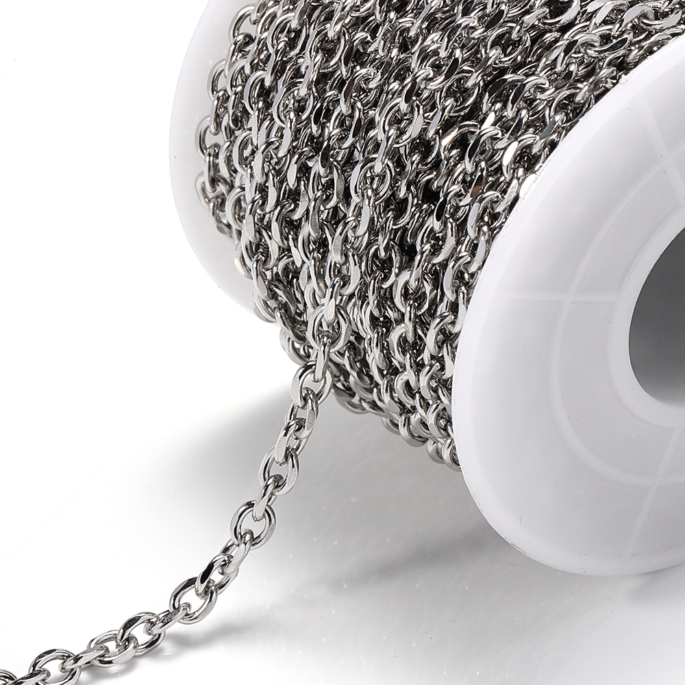 1Meter Stainless Steel Link Chain Necklace Bulk Cable 4mm Width For Diy Jewelry Making Findings Materials Wholesale