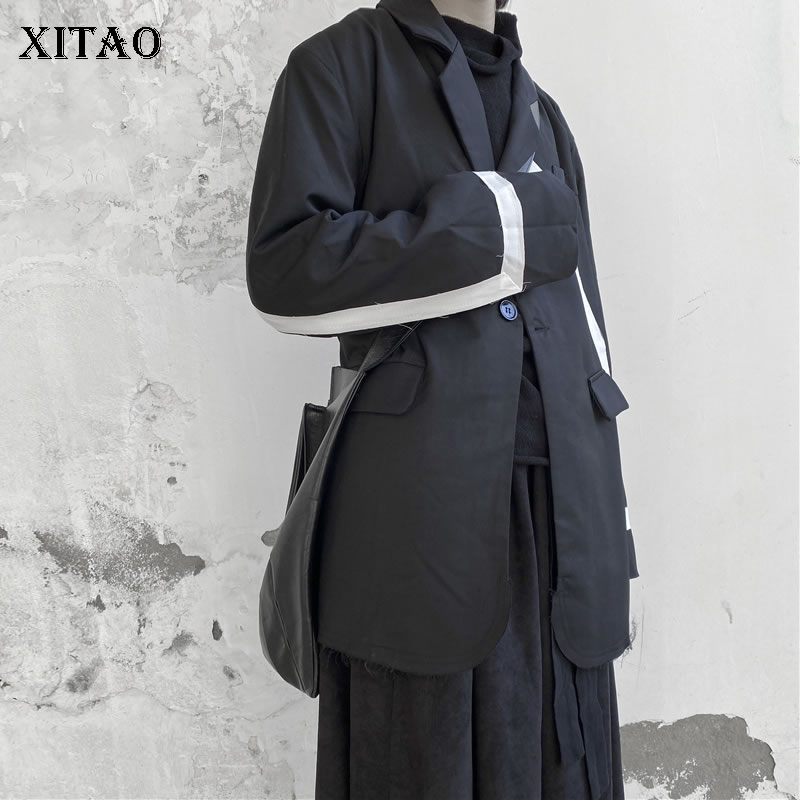 XITAO chaqueta de retazos negro moda nueva manga completa elegante solo bolsillo de pecho diosa Fan Casual minory Coat DMY2566