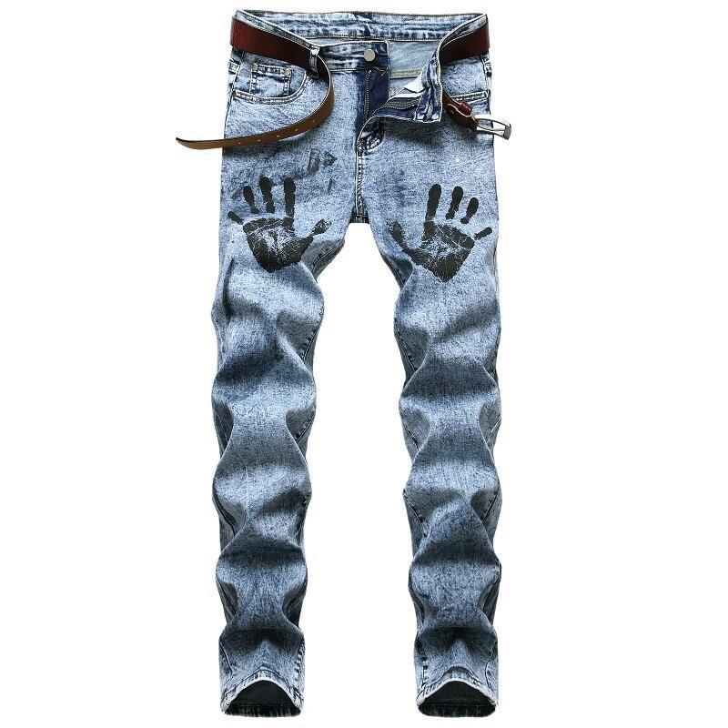 джинсы штаны мужские брюки мужские джинсы для мужчин штаны Джинсы мужские Стрейчевые светильник-голубые модные штаны с пальмовым принтом, ...