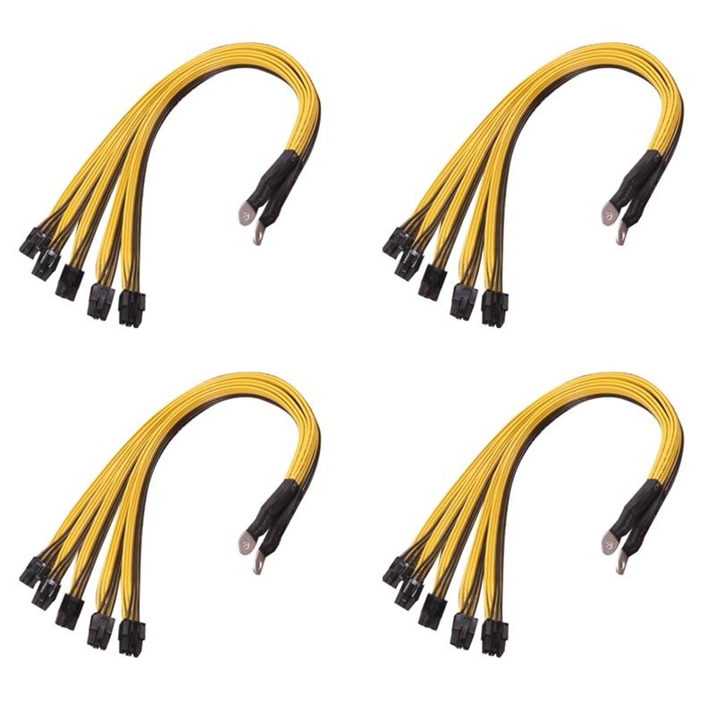 4 шт. 6-контактный разъем Sever кабель питания PCIe Express для P3 S7 S9 S11 Bitmain кабель блока питания для майнинга