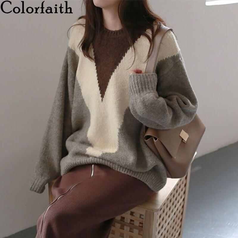 Colorfaith novo 2020 outono inverno blusas femininas minimalista elegante coreano oversize vintage de malha senhoras jumpers sw8661