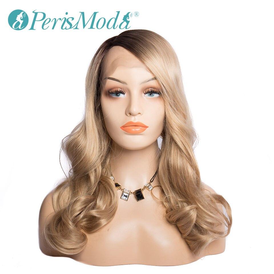 Pelucas sintéticas con encaje frontal para mujer, Rubio degradado ondulado Natural con raíces de pelo marrón, pelucas sintéticas a la moda, pelucas con pelo atado a mano
