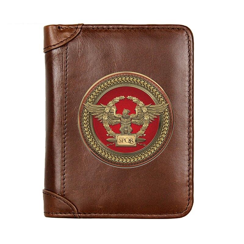 Короткий кошелек из натуральной кожи SPQR, мужской многофункциональный кошелек из воловьей кожи, мужской кошелек с карманом для монет, фото д...