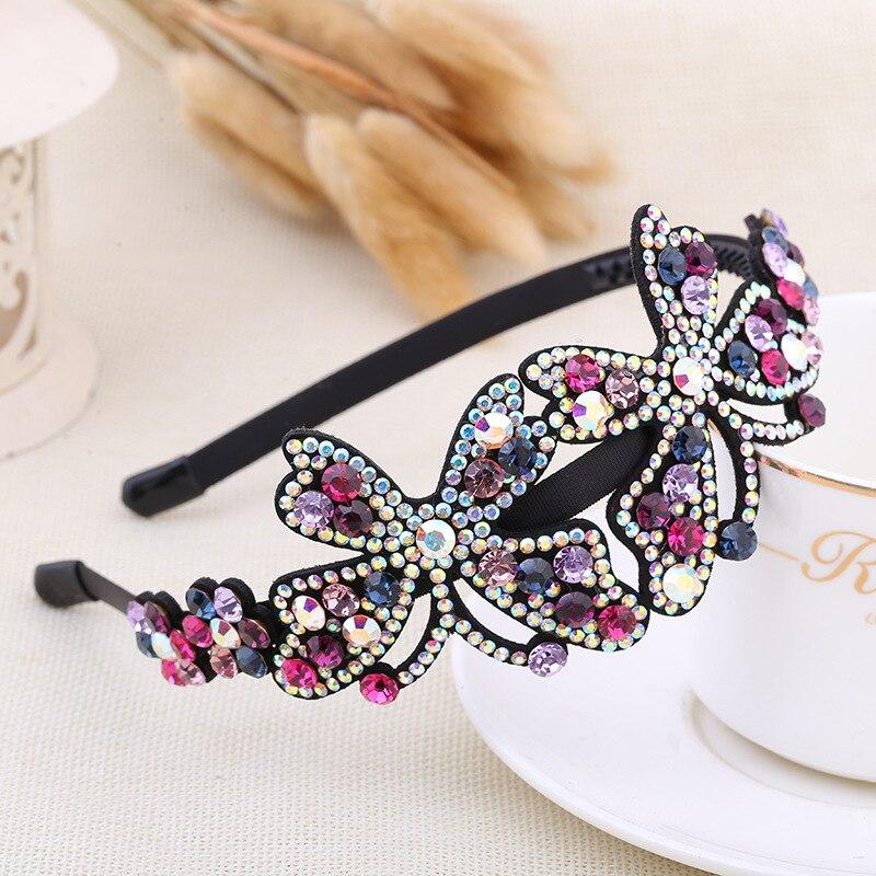 Chica coreana Simple exquisita hermosa mariposa diademas mujeres moda brillante strass insectos tocado accesorios para el cabello